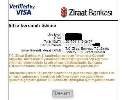 Ziraat Bankası 3d Secure Hatası - Kartınızın 3D Secure Güvenlik Doğrulaması Yapılamadı HATASI